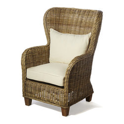 None - Natural Rattan King Lounger with Cushions - Add a beachhouse feel to your home or covered patio with this classic wicker lounge chair. Made with natural wood and rattan,this charming chair comes with bright ivory cushions,giving it a clean appearance and making it a comfortable seat.