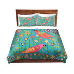 DiaNoche Designs - Duvet Cover Twill - Bohemian Birds - Lightweight and soft brushed twill Duvet Cover sizes Twin, Queen, King.  SHAMS NOT INCLUDED.  This duvet is designed to wash upon arrival for maximum softness.   Each duvet starts by looming the fabric and cutting to the size ordered.  The Image is printed and your Duvet Cover is meticulously sewn together with ties in each corner and a concealed zip closure.  All in the USA!!  Poly top with a Cotton Poly underside.  Dye Sublimation printing permanently adheres the ink to the material for long life and durability. Printed top, cream colored bottom, Machine Washable, Product may vary slightly from image.