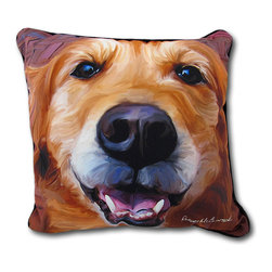 Robert McClintock Nutmeg Golden Retriever Throw Pillow 18 In. - If you have a golden retriever, this is a daily occurrence- your best friend`s happy face greeting you! This pillow is 18 inches by 18 inches and features Robert McClintock art on the front and a plain black back. It is 100% polyester, from the cover to the soft stuffing, and recommended care instructions are to spot clean or dry clean only. This pillow is a great gift for dog lovers, adding a friendly accent to any room.