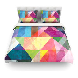 """Kess InHouse - Mareike Boehmer """"Color Blocking"""" Rainbow Abstract Cotton Duvet Cover (Queen, 88"""" - Rest in comfort among this artistically inclined cotton blend duvet cover. This duvet cover is as light as a feather! You will be sure to be the envy of all of your guests with this aesthetically pleasing duvet. We highly recommend washing this as many times as you like as this material will not fade or lose comfort. Cotton blended, this duvet cover is not only beautiful and artistic but can be used year round with a duvet insert! Add our cotton shams to make your bed complete and looking stylish and artistic! Pillowcases not included."""