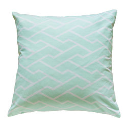 "Caitlin Wilson Textiles - Mint City Maze Pillowcase, 24""x24"" - Navigating through bustling city streets, this fresh geometric pops in every color."