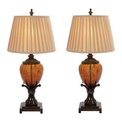 """ecWorld - Urban Designs 35"""" Contemporary Amber Glass Handcrafted Table Lamp - Set of 2 - The glass base is fashioned in a sleek shape for maximum visual impact. Paired with a warm soft gold drum shade, the lamp exudes marvelously modern taste."""