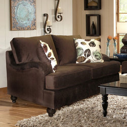 Chelsea Home Furniture - Chelsea Home Chloe Loveseat in Bella Chocolate - Tory Spa Pillows - Chelsea Home Chloe Loveseat in Bella Chocolate - Tory Spa Pillows