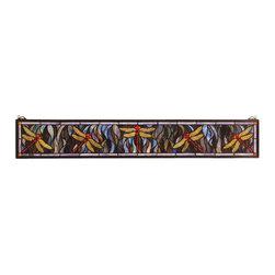 Meyda - 6.5 Inch H x 40.5 Inch W Flight of The Dragonfly Windows - Color theme: Pbag flame orange purple/blue