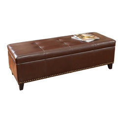 Great Deal Furniture - Lambert Brown Storage Ottoman with Tray - The Lambert Brown Storage Ottoman is a perfect addition to any room in your home. Made with a rich brown bonded leather, this ottoman is the solution for storage needs and makes a great coffee table. The removable tray fits perfectly inside the storage compartment, but can also be placed on top of the ottoman and used for serving. The Lambert ottoman is a practical yet sleek storage solution.