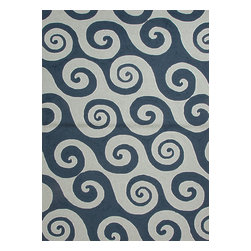 Jaipur Rugs - Abstract Pattern Blue Indoor/ Outdoor Rug - CI04, 2x3 - Navigate towards a fresh new approach to indoor-outdoor rugs with Jaipur's cheerful Coastal Living Indoor-Outdoor Collection. This bold range takes its styling cues from the ruggedly chic aesthetic of a casual seaside lifestyle. Polypropylene construction allows the durability needed for outdoor use and a relaxed sense of style equally at home, indoors or out.