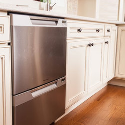 Green is As Traditional As You Feel - Dishwasher drawers accommodate one person or many in this light and bright kitchen remodel.