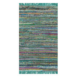 "Loloi Rugs - Loloi Rugs Gillian Collection, Turquoise, 2'-3""x3'-9"" - The richly colored jewel tones of Gillian belie the casual weave of this contemporary chindi design, offering something that is both sophisticated yet relaxed. Made in India of soft-to-the-touch cotton, Gillian has fringe detailing for added style."