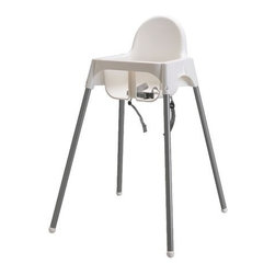 IKEA of Sweden - ANTILOP Highchair with safety belt - Highchair with safety belt, white, silver color