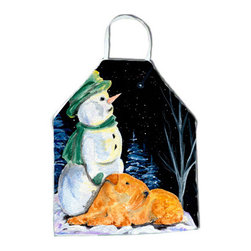Caroline's Treasures - Snowman with Lakeland Terrier Apron SS8555APRON - Apron, Bib Style, 27 in H x 31 in W; 100 percent  Ultra Spun Poly, White, braided nylon tie straps, sewn cloth neckband. These bib style aprons are not just for cooking - they are also great for cleaning, gardening, art projects, and other activities, too!