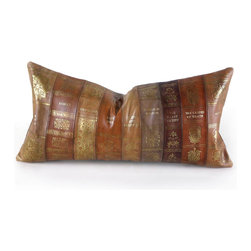 Pfeifer Studio - Classic Books Pillow - Bring the library to your sofa or bed with this charming leather pillow. The great literary works will be perfectly at home. And you can truly snuggle up with the likes of Faulkner and Dickens without even cracking a book.