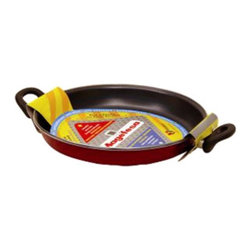 Magefesa - Magefesa Classic Praga Enamel on Steel 12 in. Paella Pan Multicolor - 01PVPAEPR3 - Shop for Braisers & Paella Pans from Hayneedle.com! Paella is an international favorite and the Magefesa 01PVPAEPR30 Classic Praga Enamel on Steel 12 in. Paella Pan allows you to cook this mouth-watering Spanish dish right at home. It features a vibrant red double-enameled exterior with elegant stainless steel accents. This pan is constructed of enamel-coated carbon steel with a double nonstick-coated interior. The coatings are chip- and crack-resistant so this pan is durable enough for everyday use. It also features Bakelite heat-resistant cool-touch handles that are heat-resistant to 572 F. The diffused base allows the pan to heat up quickly and cook foods evenly. And this paella pan is dishwasher-safe so cleanup is a breeze. A one-year warranty is included.About Magefesa USA.Magefesa is a large Spanish kitchenware manufacturer specializing in pressure cookers domestic and professional cookware and frying and paella pans. Magefesa has a commercial presence in 46 countries on five continents. It is a household name in many countries such as Spain the United States Canada Korea Japan Australia and New Zealand.Magefesa produces its products mainly in Spain and the company's three most important production plants are located in the north of Spain. There Magefesa produces its enamel-on-steel cookware nonstick products cutleries stainless steel cookware sets and pressure cookers. With more than 1 million square feet of production and warehousing plants and an experienced team Magefesa brings its customers and distributors excellent service and high-quality products.
