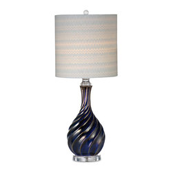 Bassett Mirror - Bassett Mirror Tiburon Table Lamp - Brighten your room with the navy blue Tiburon Table Lamp. Featuring a raised multi-tone twisted design, acrylic base, crystal ball finial and zigzag patterned cylinder lampshade, this lamp makes an ideal addition to transitional decor. Requires 60 watts or less, bulbs not included.