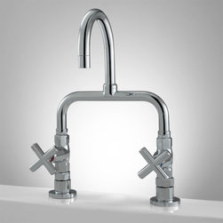 Guthrie Bridge Kitchen Faucet - Cross Handles - Add a bold focal point to your kitchen with the Guthrie Bridge Faucet, featuring a straightforward design and swiveling, gooseneck spout.
