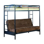 Ameriwood - DHP Twin over Futon Bunk Bed in Black - Ameriwood - Bunk Beds - 3137096 - The simple style and stability of DHP's Twin-Over-Futon Bunk Bed make it the perfect choice for space-saving sleep options. The black metal finish will look good with any decor and the frame is solid and secure. Added safety features include a full-size guardrail for the top bunk and an integrated ladder. With the futon on the bottom you have the versatility of either a seating space or an additional bed for overnight guests siblings and sleep-overs. You will love the convenience flexibility and change ability of DHP's Twin-Over-Futon Bunk Bed in black.