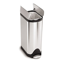 simplehuman - simplehuman Butterfly Step Trash Can,Fingerprint-Proof Brushed Stainless Steel,3 - This strong steel pedal can is engineered to last over 150,000 steps. Split doors open from the center for maximum clearance under low countertops,plus the fingerprint-proof finish resists smudges to keep stainless steel shiny.