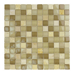 "Glass Tile Oasis - Mocha Stone Blend 1"" x 1"" Cream/Beige Crystile Blends Glossy Glass and Stone - Our Crystile Series offers a wide range of hues to suit your mood and your style! The vibrancy and depth of our crisp, smooth glass results in a unique and dramatic effect for use in both residential and commercial installations."