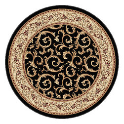 Tayse Rugs - Elegance Black, Red and Green Round: 7 Ft. 10 In. Rug - - Scrollwork interior with floral border makes this rug a perfect companion to traditional or transitional d�cor. In classic colors that are always in fashion. Black with ivory and gold. Made of soft polypropylene that is easy to clean. Vacuum and spot clean.  - Square Footage: 61  - Pattern: Oriental  - Pile Height: 0.39-Inch Tayse Rugs - 5403  Black  8 Round