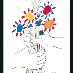 Amanti Art - Hands with Bouquet (Fleurs et Mains) Framed with Gel Coated Finish by Pablo Pica - Flowers changing hands might seem the simplest of gestures, yet Picasso somehow imbues the small moment with an epic quality.