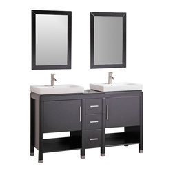 "Legion Furniture - 60 Inch Modern Double Sink Bathroom Vanity - This 60 inch Modern Double sink bathroom vanity is a perfect center piece for your bathroom project.  This Espresso (Dark Brown, Can Appear Black in Certain Lighting) bathroom vanity features 2 Doors, 3 Drawers, 2 Shelves; Soft Close Hinges and Guides , and a White Ceramic with Integrated Sink counter top with a Top Mount White Ceramic sink that is Pre-Drilled for Single Hole Faucet (Not Included). Large opening in back for easy plumbing installation.  Dimensions: 60""W X 18""D X 36""H (Tolerance: +/- 1/2""); Counter Top: White Ceramic with Integrated Sink; Finish: Espresso (Dark Brown, Can Appear Black in Certain Lighting); Features: 2 Doors, 3 Drawers, 2 Shelves; Soft Close Hinges and Guides; Hardware: Brushed Nickel; Sink(s): Top Mount White Ceramic; Faucet: Pre-Drilled for Single Hole Faucet (Not Included); Assembly: Light Assembly Required; Large Cut Out in Back for Plumbing; Included: Cabinet, Sink, Mirrors (24""W X 1""D X 30""H); Not Included: Faucet, Backsplash"