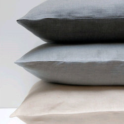 Area - Emile Duvet Cover - EMILE charcoal, mineral and creme. 100% pure linen duvet cover, bag-style standard cases (sold in pairs), euro cases, and french-back body pillow case. Great for adding texture and layering.