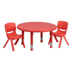 "Flash Furniture - 33"" Adjustable Red Plastic Activity Table Set with 2 School Stack Chairs - This table set is excellent for early childhood development. Primary colors make learning and play time exciting when several colors are arranged in the classroom. The durable table features a plastic top with steel welding underneath along with height adjustable legs. The chair has been properly designed to fit young children to develop proper sitting habits that will last a lifetime."