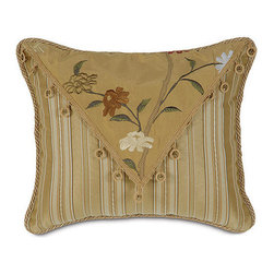 """Frontgate - Gabrielle Decorative Pillow - 15"""" x 13"""" - From Eastern Accents. Reversible duvet cover features decorative fabric on both sides. Button-tufted and hand-tacked comforters have two layers of decorative fabric with polyester batting secured inside to prevent shifting. Velvet bed skirt has split corners and kick pleats. Dry clean only recommended. Luxuriate in unabashed elegance with the Gabrielle Bedding Collection. Featuring an exquisite, 100% silk embroidered floral fabric, Gabrielle is characterized by warm, classic gold-toned fabrics with delightful splashes of color like cinnamon, crme, and brown.  .  .  .  .  . Made in Italy."""