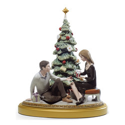 """Lladro Porcelain - Lladro A Romantic Christmas Figurine - Plus One Year Accidental Breakage Replace - """"Hand Made In Valencia Spain - Sculpted By: Marco Antonio Nogueron - Limited To: 2000 Pieces Worldwide - Included with this sculpture is replacement insurance against accidental breakage. The replacement insurance is valid for one year from the date of purchase and covers 100% of the cost to replace this sculpture (shipping not included). However once the sculpture retires or is no longer being made, the breakage coverage ends as the piece can no longer be replaced. """""""