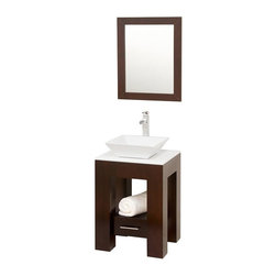 Wyndham Collection - Wooden Bathroom Vanity Set - Includes one bathroom vanity, one white porcelain sink and matching mirror. Faucets not included. One drawer. 8 stage painting and coloring process. Floor standing vanity. White glass top. Contemporary and unique design. Deep doweled drawers. Side mount drawer slides. Single hole faucet mount. Metal hardware. Made from wood and MDF. White, espresso and brushed chrome color. Care Instruction. Vanity: 22.25 in. W x 20 in. D x 35 in. H. Mirror: 22 in. W x 28 in. HIntroducing the beautiful and unique Amanda bathroom vanity. It's the perfect powder room vanity.
