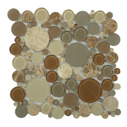 "Euro Glass - Bubble Toffee  Circles Brown Lagoon Series Glossy & Frosted Glass and Stone - Sheet size:  12"" x 12""        Tile Size:  Circles        Tiles per sheet:  120        Tile thickness:  1/4""        Grout Joints:  1/8""        Sheet Mount:  Mesh Backed    MATCHING 4"" X 12"" BORDER AVAILABLE   Sold by the sheet     -"