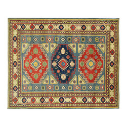 Manhattan Rugs - New Mesa Collection Geometric Kazak 8'x10' Hand Knotted Blue Wool Area Rug H3666 - Kazak (Kazakh, Kasak, Gazakh, Qazax). The most used spelling today is Qazax but rug people use Kazak so I generally do as well.The areas known as Kazakstan, Chechenya and Shirvan respectively are situated north of Iran and Afghanistan and to the east of the Caspian sea and are all new Soviet republics. These rugs are woven by settled Armenians as well as nomadic Kurds, Georgians, Azerbaijanis and Lurs.  Many of the people of Turkoman origin fled to Pakistan when the Russians invaded Afghanistan and most of the rugs are woven close to Peshawar on the Afghan-Pakistan border.  There are many design influences and consequently a large variety of motifs of various medallions, diamonds, latch-hooked zig-zags and other geometric shapes. However, it is the wonderful colors used with rich reds, blues, yellows and greens which make them stand out from other rugs. The ability of the Caucasian weaver to use dramatic colors and patterns is unequalled in the rug weaving world. Very hard-wearing rugs as well as being very collectable.
