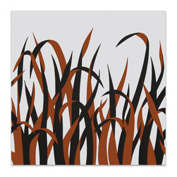 "Graphilia - ""Grasses"" by Victor Langer 1973 Original Vintage Serigraph -Orange - Original 1973 serigraph by Victor Langer."