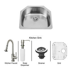 Vigo Industries - All in One 24 in. Undermount Stainless Steel Kitchen Sink and Faucet Set - Revitalize the look of your kitchen with a VIGO All in One Kitchen Set featuring a 24 in. Undermount kitchen sink, faucet, soap dispenser, matching bottom grid, and sink strainer. The VG2421 single bowl sink is manufactured with 18 gauge premium 304 Series stainless steel construction with commercial grade premium satin finish. Fully undercoated and padded with a unique multi layer sound eliminating technology, which also prevents condensation. All VIGO kitchen sinks are warranted against rust. Required interior cabinet space: 26 in. Kitchen sink is cUPC and NSF-61 certified by IAPMO. All mounting hardware and cutout template provided for 1/8 in. reveal or flush installation. The VG02012ST kitchen faucet features a dual function Pull-Out spray head for aerated flow or powerful spray, and is made of solid brass with a stainless steel finish. Includes a spray face that resists mineral buildup and is easy-to-clean. High-Quality ceramic disc cartridge. Retractable 360-Degree swivel spout expandable up to 30 in. Single lever water and temperature control. All mounting hardware and hot/cold waterlines are included. Water pressure tested for industry standard, 2. 2 GPM Flow Rate. Standard US plumbing 3/8 in. connections. Faucet height: 16 3/4 in. Spout reach: 8 7/8 in. Kitchen faucet is cUPC, NSF-61, and AB1953 certified by IAPMO. Faucet is ADA Compliant. 2-hole installation with soap dispenser. VGSD001ST soap dispenser is constructed of solid brass with a stainless steel finish and fits 1 1/2 in. opening with a 3 1/2 in. spout projection. Matching bottom grids are Chrome-Plated stainless steel with vinyl feet and protective bumpers. Sink strainer is made of durable solid brass in chrome finish. All VIGO kitchen sinks and faucets have a Limited Lifetime Warranty.