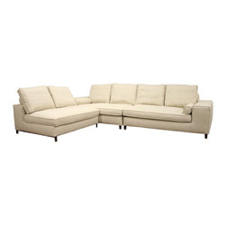 Baxton Studio - Baxton Studio Pegeen Fabric 3-Piece Modular Sectional - Don???t fall prey to a stagnant seating arrangement - this 3-piece modular contemporary sectional sofa can be rearranged to suit your mood.  This set includes a left arm sofa, a right arm sofa, and an armless piece, all constructed with solid wood frames, dense foam cushioning, and tightly-woven twill in a shade of cream.  Each piece has fully finished and upholstered ends, which give you the option to leave one or more pieces freestanding without unsightly exposure of metal connectors.  A purchase of this modern sectional sofa includes chromed steel legs and matching bolster armrest pillows.  If desired, all cushions can be removed, as well as the overlying fabric upholstery.  Minor assembly is required.