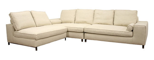 Baxton Studio - Baxton Studio Pegeen Fabric 3-Piece Modular Sectional - Don't fall prey to a stagnant seating arrangement -this 3-piece modular contemporary sectional sofa can be rearranged to suit your mood. This set includes a left arm sofa, a right arm sofa, and an armless piece, all constructed with solid wood frames, dense foam cushioning, and tightly-woven twill in a shade of cream. Each piece has fully finished and upholstered ends, which give you the option to leave one or more pieces freestanding without unsightly exposure of metal connectors. A purchase of this modern sectional sofa includes chromed steel legs and matching bolster armrest pillows. If desired, all cushions can be removed, as well as the overlying fabric upholstery. Minor assembly is required.