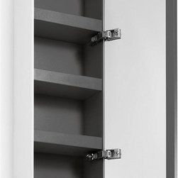 WS Bath Collections - 31.5 in. Bathroom Cabinet in White and Dark G - Contemporary design. Three shelves. Mirrored door. Designer high end quality. Warranty: One year. Made from powder coated painted aluminum - matt stone sides. Made in Italy. 10.4 in. W x 6.5 in. D x 31.5 in. H (30 lbs.). Spec Sheet