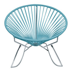 Dream Catcher Rocker in Blue - Sit back and melt into this hoop-shaped, sunburst-woven modern lounge chair, complete with UV-resistant vinyl cord for breathability and support, and a rust-resistant, galvanized-steel frame with a semi-textured polyester powder coat. The chair comes with a rocking chair base, is weatherproof and easy to clean. Use this chair inside or outside�ۡ����it will be sure to add a burst of color and circular motion to your room.