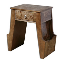 Matthew Williams - Matthew Williams Dinsmore Wooden Magazine Table X-99342 - Glowing, figured burl and birch veneer with dovetail drawer and side panels to hold books or magazines. Polished nickel drawer pull.
