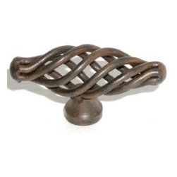 Top_Knobs - Top Knobs - Small Oval Twist Knob 2 1/8 Inch - Patina Rouge - M618 - Normandy Collection, Steel Base Material,  Weight: 0.08 Lbs