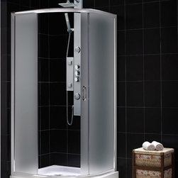 "DreamLine - DreamLine Solo Frameless Sliding Shower Enclosure and SlimLine 33"" by - This kit combines a SOLO shower enclosure with a SlimLine shower base for a complete shower transformation. The SOLO quarter round shower enclosure opens up the look of a smaller bathroom. The sliding door creates a comfortably wide opening without claiming the space required for a swing door. A SlimLine shower base adds sleek modern look with low profile design. Choose a DreamLine shower kit for an efficient and cost effective bathroom renovation solution. Items included: Solo Shower Enclosure and 33 in. x 33 in. Quarter Round Shower BaseOverall kit dimensions: 33 in. D x 33 in. W x 74 3/4 in. HSolo Shower Enclosure:,  31 3/8 in. W x 31 3/8 in. D x 72 in. H ,  1/4 (6 mm) frosted tempered glass,  Chrome hardware finish,  Frameless glass design,  Out-of-plumb installation adjustability: Up to 3/4 in. per side,  Anodized aluminum profiles and guide rails,  Designed to be installed against finished walls (not directly to studs),  Door opening: 16 1/2 in.,  Two stationary panels: 19 in. and 10 1/2 in.,  Reversible for right or left door opening installation,  Material: Tempered Glass, Aluminum,  Tempered glass ANSI certified33 in. x 33 in. Quarter Round Shower Base:,  High quality scratch and stain resistant acrylic,  Slip-resistant textured floor for safe showering,  Integrated tile flange for easy installation and waterproofing,  Fiberglass reinforcement for durability,  cUPC certified,  Drain not includedProduct Warranty:,  Shower Enclosure: Limited 5 (five) year manufacturer warranty ,  Shower Base: Limited lifetime manufacturer warranty"