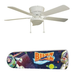 """Buzz Lightyear Toy Story 52"""" Ceiling Fan with Lamp - This is a brand new 52-inch 5-blade ceiling fan with a dome light kit and designer blades and will be shipped in original box. It is white with a flushmount design and is adjustable for downrods if needed. This fan features 3-speed reversible airflow for energy efficiency all year long. Comes with Light kit and complete installation/assembly instructions. The blades are easy to clean using a damp-not wet cloth. The design is on one side only/opposite side is bleached oak. Made using environmentally friendly, non-toxic products. This is not a licensed product, but is made with fully licensed products. Note: Fan comes with custom blades only."""