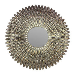 Benzara - Gold Finish Metal Antique Themed Mirror - Looking for a beautiful antique to flare up your interiors? This wonderful mirror is the perfect choice for you. Intricately designed, this mirror has a royal golden finish. It has an open flower type structure with the mirror in the middle. The mirror is made of metal with antique design and a must have in your interiors. This mirror will add spice to your formal as well as informal environments as you can place it in your office or home. It will definitely make your decor have an amazing glamour.This metal gold finish mirror is easy to clean and maintain. Your visitors and guests will be impressed at the sight of this elegant metal mirror. If you are thinking of presenting someone a gift this is the right choice. Your receiver will love you for such a unique and useful present. So what are you waiting for? Get one as soon as possible. This mirror measures 36 (width) x2 inch (D) x36 inch (H); Royal golden Finish; Wonderful flared up open flower design