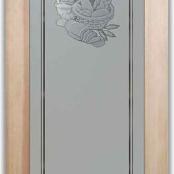 """Pantry Doors Bread Basket 3D - PANTRY DOORS TO SUIT YOUR STYLE!  Glass Pantry Doors you customize, from wood type to glass design!   Shipping is just $99 to most states, $159 to some East coast regions, custom packed and fully insured with a 1-4 day transit time.  Available any size, as pantry door glass insert only or pre-installed in a door frame, with 8 wood types available.  ETA for pantry doors will vary from 3-8 weeks depending on glass & door type.........Block the view, but brighten the look with a beautiful obscure, decorative glass pantry door by Sans Soucie!   Select from dozens of frosted glass designs, borders and letter styles!   Sans Soucie creates their pantry door obscure glass designs thru sandblasting the glass in different ways which create not only different effects, but different levels in price.  Choose from the highest quality and largest selection of frosted glass pantry doors available anywhere!   The """"same design, done different"""" - with no limit to design, there's something for every decor, regardless of style.  Inside our fun, easy to use online Glass and Door Designer at sanssoucie.com, you'll get instant pricing on everything as YOU customize your door and the glass, just the way YOU want it, to compliment and coordinate with your decor.  When you're all finished designing, you can place your order right there online!  Glass and doors ship worldwide, custom packed in-house, fully insured via UPS Freight.   Glass is sandblast frosted or etched and pantry door designs are available in 3 effects:   Solid frost, 2D surface etched or 3D carved. Visit or site to learn more!"""