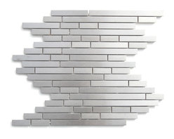 Eden Mosaic Tile - Modern Random Linear Brick Metal Mosaic, Sheet - Add a distinct dash of the contemporary to your home base with these stainless steel tiles. The clean lines and fresh urban style are must-haves for a modern frame of mind. Samples are approximately 1/6 to 1/4 of a regular sized sheet. Please note: Sample tiles are not returnable. Only one sample per style is allowed. Only five samples may be ordered. if you require more than one sample swatch to evaluate your project, please order a full sheet.
