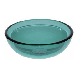 Renovators Supply - Vessel Sinks Green Glass Piccolo Mini Round Vessel Sink 11 3/4 | 13768 - Mini Glass Vessel Sinks: Single Layer Tempered glass sinks are five times stronger than glass, 1/2 inch thick, withstand up to 350 F degrees, can resist moderate to high degrees of impact and are stain-proof. Ready to install this package includes FREE 100% solid brass chrome-plated pop-up drain, FREE machined 100% solid brass chrome-plated mounting ring and silicone gasket. Measures 11 3/4 inch diameter x 4 3/8 inch deep x 1/2 inch thick