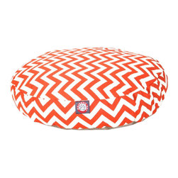 MAJESTIC PET PRODUCTS - Chevron Round Pet Bed, Burnt Orange, Large - Show how much you care by giving your pet a bed that might be more comfortable than your own. The Majestic Pet Patterned Pet Bed is the perfect combination of style, function and comfort. It features a removable zippered slipcover that is woven from durable Outdoor Treated polyester, with 1000 hours of UV protection. The base of the bed is made of heavy duty waterproof 300/600 Denier fabric, which allows you to move your pet wherever you are, inside or out. Each bed is filled with a super plush fiberfill that provides ample amounts of comfort. To wash: Spot clean the slipcover with a mild detergent and hang dry.