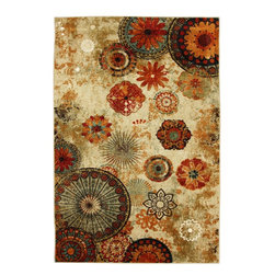 Mohawk - Contemporary Caravan Medallion 5'x8' Rectangle Multi Color Area Rug - The Caravan Medallion area rug Collection offers an affordable assortment of Contemporary stylings. Caravan Medallion features a blend of natural Multi Color color. Machine Made of Nylon the Caravan Medallion Collection is an intriguing compliment to any decor.