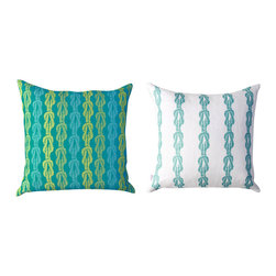 Kaypee Soh - Knotted Up Pillow - Aqua - Knotted Up - A modern stripe with a nautical flair, the subtle rope pattern makes this design great in any coastal setting. Looks really cute with our Fan Coral and Nautilus pillows!