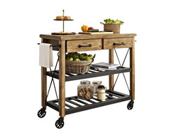 "Crosley - Roots Rack Industrial Kitchen Cart - The relaxed lifestyle of French Wine country comes to life in Crosley's new Roots Rack. Its rustic design is reflective of a time when recycling wasn't a societal choice, but a way of life. Starting with a solid pine top, we simulate the popular ""reclaimed"" wood look by hand - etching a weathered plank design into the surface. The rich honey finish extends to the sturdy legs, riding on industrial style casters wrapped in rubber. Two spacious drawers sit on full-extension glides, providing maximum utility. The sturdy metal shelves are finished in black, and are perfectly notched to secure individual wine bottles. Completing the package are industrial style drawer pulls, towel bars, and X- supports. The Roots Rack is perfect for any kitchen activity - slicing, dicing, mixing, or mingling."