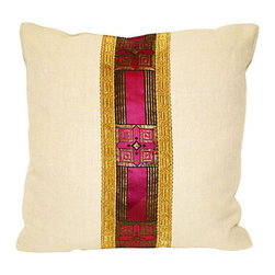 Acapillow - Sacred Ribbon Pillow - Your home is your sanctuary away from the world. Perpetuate that sacred and tranquil feeling with this richly adorned ribbon pillow. The deep purple and gold ribbon is fit for a cathedral, but the clean hemp background is neutral enough to complement any modern eclectic haven.
